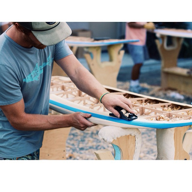 Kevin lending a hand to the @patagoniacardiff crew at the @grainsurfboards workshop today. Check out the boards at the shop tomorrow and join us for a great night...event starts at 6pm at Patagonia Cardiff!