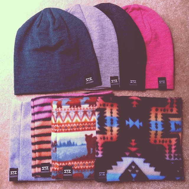 Beanies now available online!  Fleece neck/face warmers available late Nov. To order now email info@mystz.com #stzlife #winteriscoming #stockup #beanie #neckwarmer #aztec #fleece #happyshredding #therightcoast