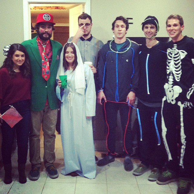 Happy Halloween from a rag tag last min costume bunch. #present #youngsanta #mary #nerd #stickman #stickman #skeleton #weeksauce #ohwell