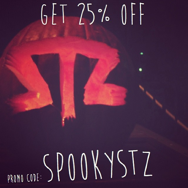 All TREAT today! Take advantage of the site wide 4 day sale... 25% off everything! Promo code: SPOOKYSTZ  www.mystz.com. -Happy Halloween #stzlife #therightcoast #happyshredding #pumpkin #sale #halloween