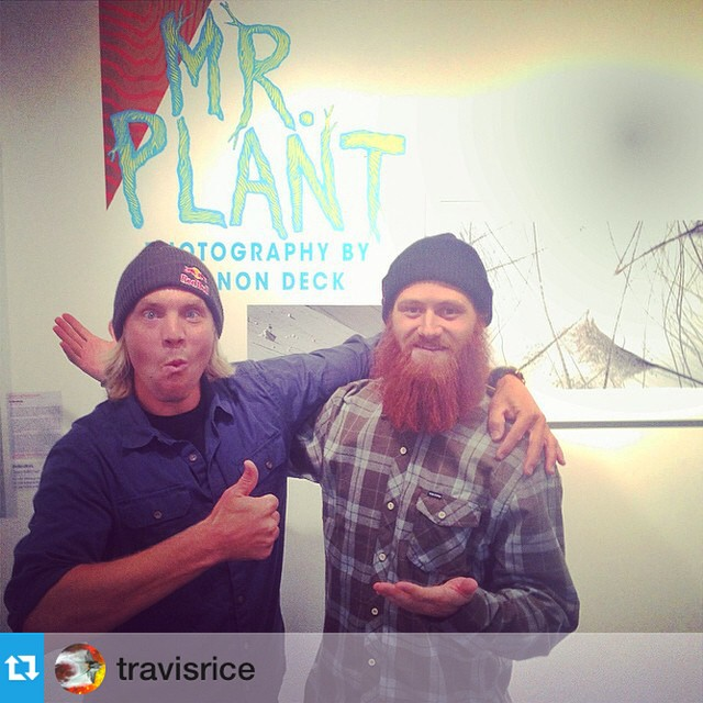 So this happened... #Repost from @travisrice --- Stoked to have @patmoore and @jpminibike here in Jackson for MR PLANT!!! Vernon Deck photo show here at @asymbol! Beautiful images behind the red beard!!