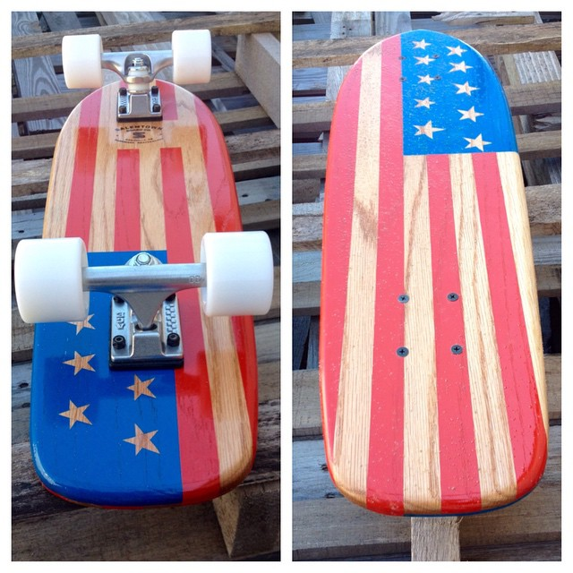 Red, white and blue! This one-off of the week sold even before it was finished! #handmade #skateboards #nashville #america #skateboarding