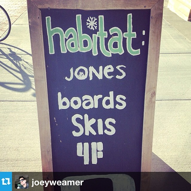 #Repost from @joeyweamer showing us a sidewalk snapshot from Habitat's storefront in Driggs Idaho - home of the Ghee, Grand Targhee. 4FRNT dealers unite!