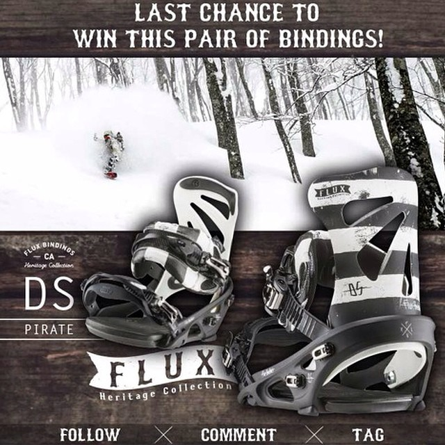 LAST CHANCE TO WIN FLUX! Flux Bindings is giving away this set of DS Pirate Bindings from the new Heritage Collection! To Enter: FOLLOW our gram feed, make a COMMENT and TAG three of your friends in your comment. The winner will be selected by Flux...