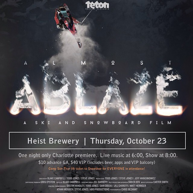 TOMORROW !!! ✖️come snag a free lift ticket to snowshoe while hearing live music from @nomadicrage and fresh brews by @heistbrewery // live music starts at 6pm movie at 8pm #stzlife #ablaze #tetongravity #moviepremier #snowboard #ski  #charlotte #noda...