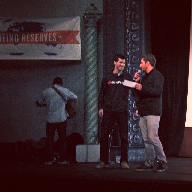 During the @stwcoalition Film Festival @mcelberts #GoodPeople COO presented #SavetheWaves with a check from all the funds raised at #OutdoorSF, contributing to saving our oceans, coast lines ... #DoGood #gobigdogood #surfing #waves