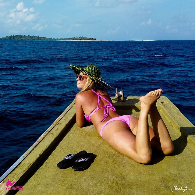 @alisonsadventures finds a minute to #relax between #saving the #world and #oceans -- take the time to #enjoy the #journey - #inthecurl #top and #bottom in #akala -- #sarahleephoto @hisarahlee