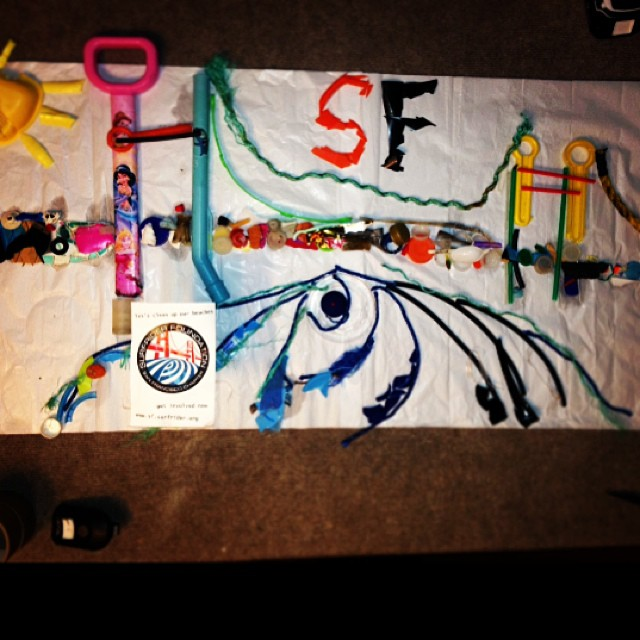 Our plastic tribute to the recent visit to San Francisco.  All materials sourced from our beach cleanups with @sfsurfrider and @5gyres. October is Rise Above Plastic month...check out @surfrider plastic art contest and find out how you can get...