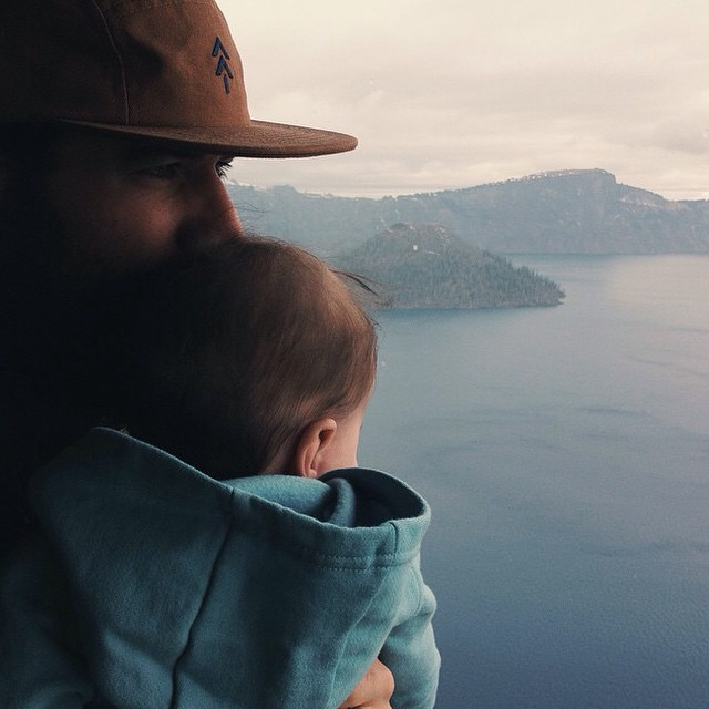Rad dads in #radparks! Check out @tboldm in our Trail Hat at Crater Lake.