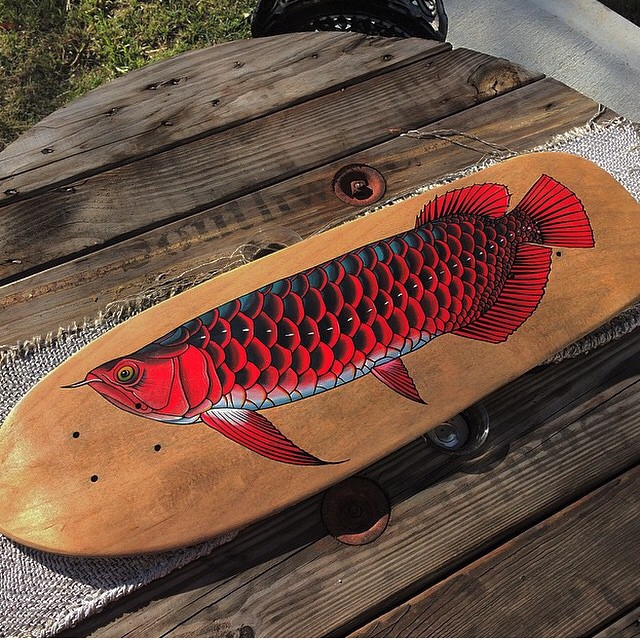 Look at this beautiful board @zanependergast did for an art show in #nashville this weekend! #handmade #skateboards