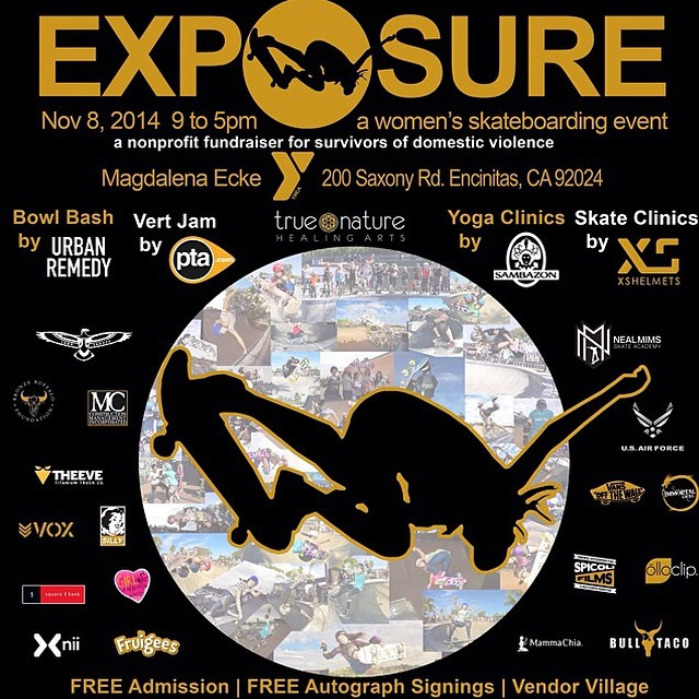 Come out to #Exposure2014! Nov 8th is the day to watch the some of the top girls skate vert and bowl, take our @xshelmets Learn to Skate clinic or take a yoga class. This event raises money and awareness for survivors of domestic violence and will be...