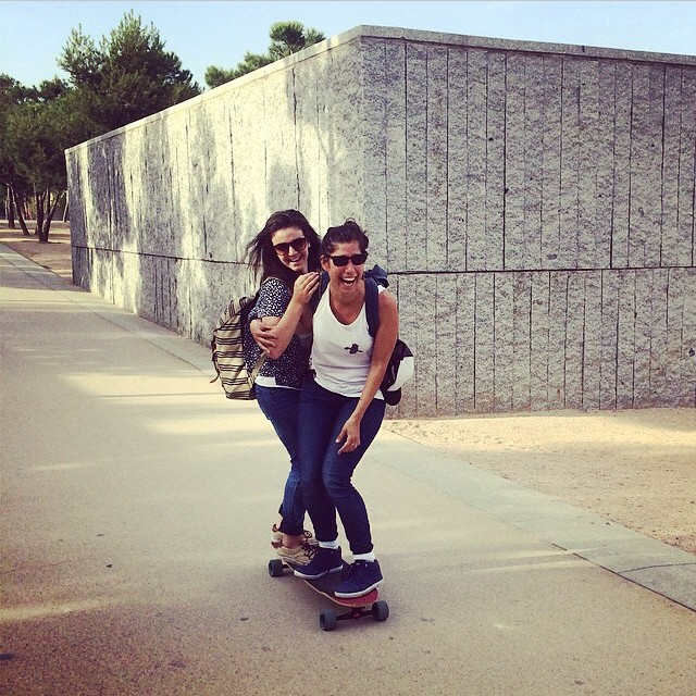 Repost from @amandapowellskate. @jennarus & @valeriakechichian tandem skating through Madrid Rio. These days spent together bonded all of us even more. So much love.  #longboardgirlscrew #lgcopen #girlswhoshred #jennarusso #valeriakechichian...