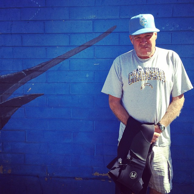 Jim Ellington veteran San Diego shaper and known Charger fan wears The Premium Ichiban Game #lovematuse