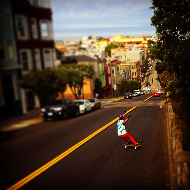 Team rider Yvonne Byers--@yvonzing has style for days!  Today we were out filming for the board she shaped and created. This board will be available in early December.  #yvonnebyers #bonzing #skateboarding #sanfrancisco #shapers #artists