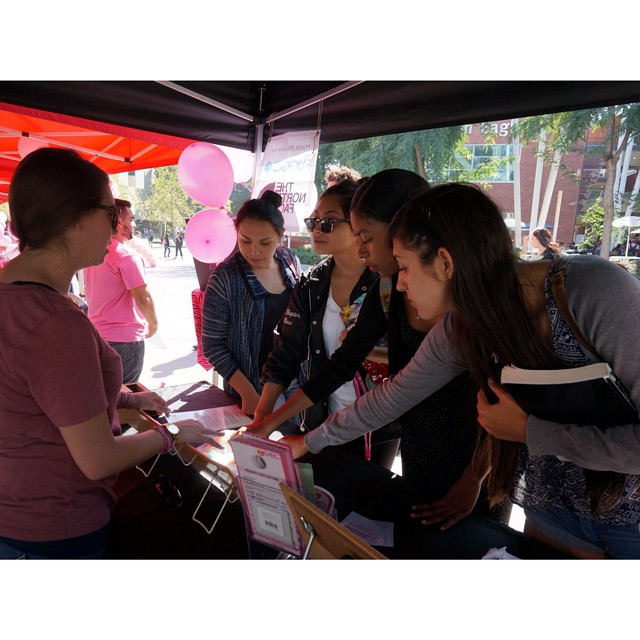 We had an incredibly busy day of #CheckOneTwo outreach at #CSULA today! Hundreds of students came through our educational booth to learn how to check themselves and to reduce their risk. Pictured is our intern Maggie showing a group a girls what a...