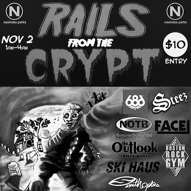 Rails from the crypt goin down at @skinashoba on nov. 2nd. Just $10 to enter. #railsfromthecrypt #snowboarding #steezmagazine #nashoba