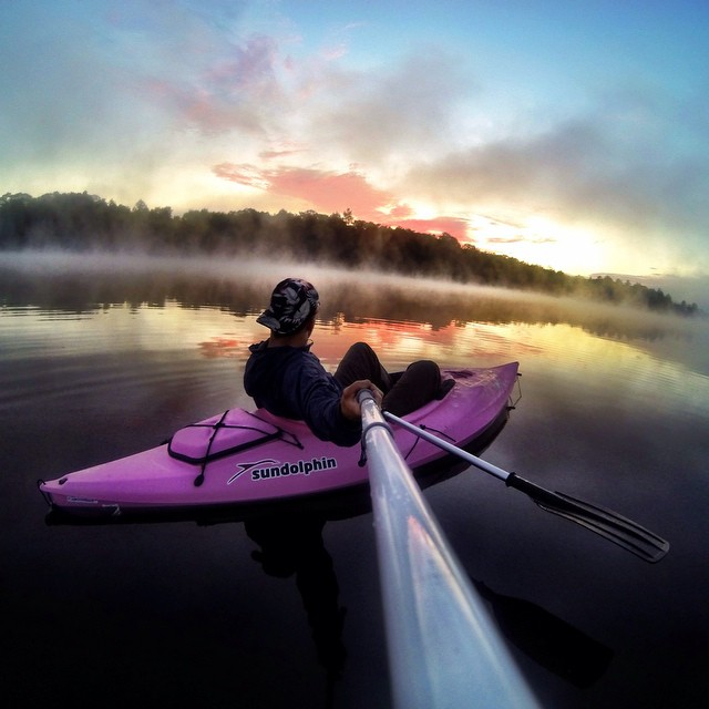 Photo of the Day! @insta_gandhi enjoying the solitude of sunrise on Panther Lake in New York. #Kayak