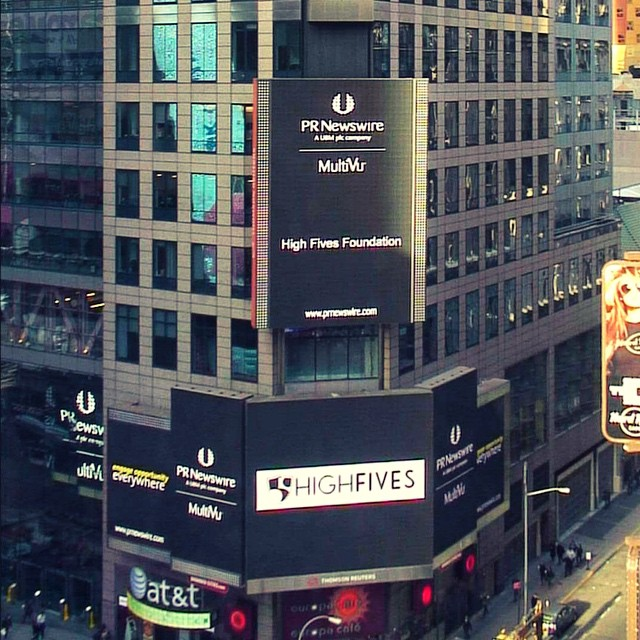 The High Fives Foundation was spotted in Times Square!