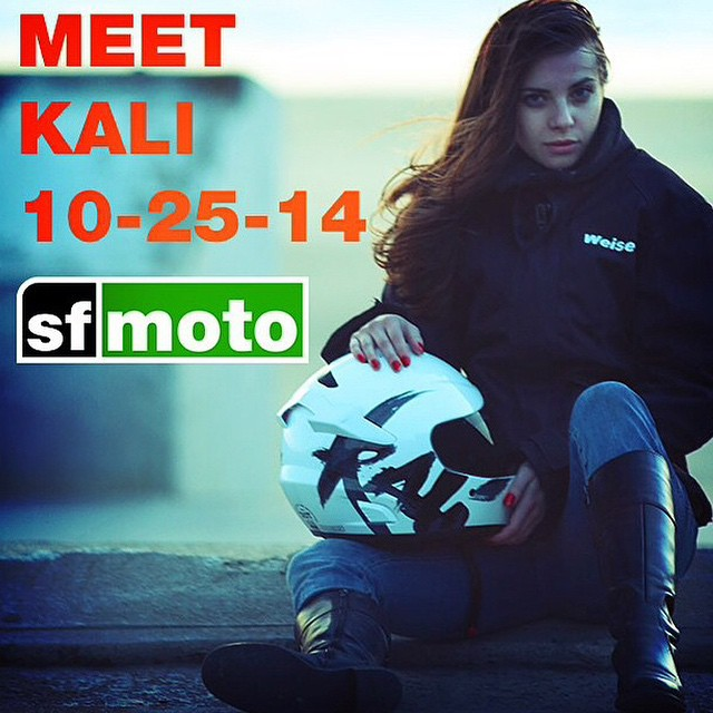 If you're in the Bay Area, head over to @SFMoto tomorrow to meet some of the Kali family, check out some product, and swoop a new lid for a great price. | #BayArea #SFriders