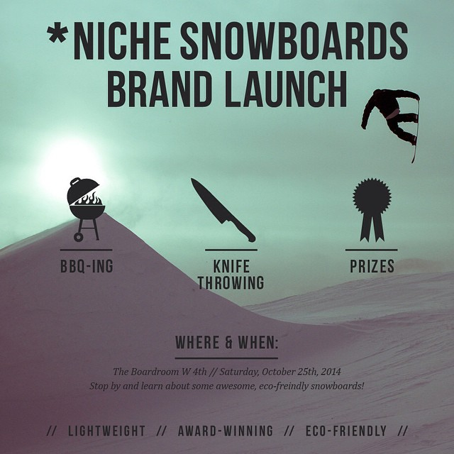 Do you like knives? Do you like snowboarding? Do you live in Whistler? Have we got the event for you. Tomorrow. @boardroomshop. Be there. #nichesnowboards