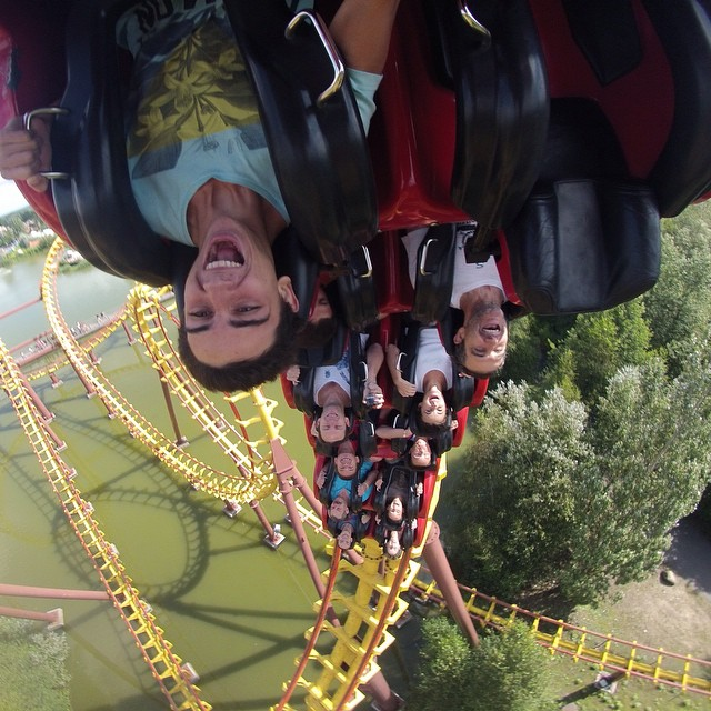 Photo of the Day! Riding roller coasters at Park Asterix in Paris. Photo by @plomerr_10.