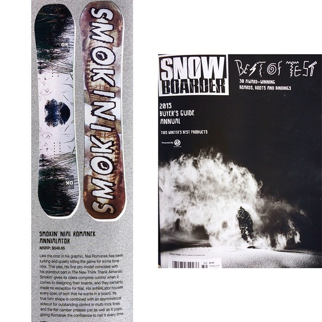 "We are really excited the #bestoftest this year lined up for @nial_romanek anthe #anNIALator was awarded a best of test from @snowboardermag . They mention that ""Smokin' gives its riders complete control when it comes to designing their boards, and..."