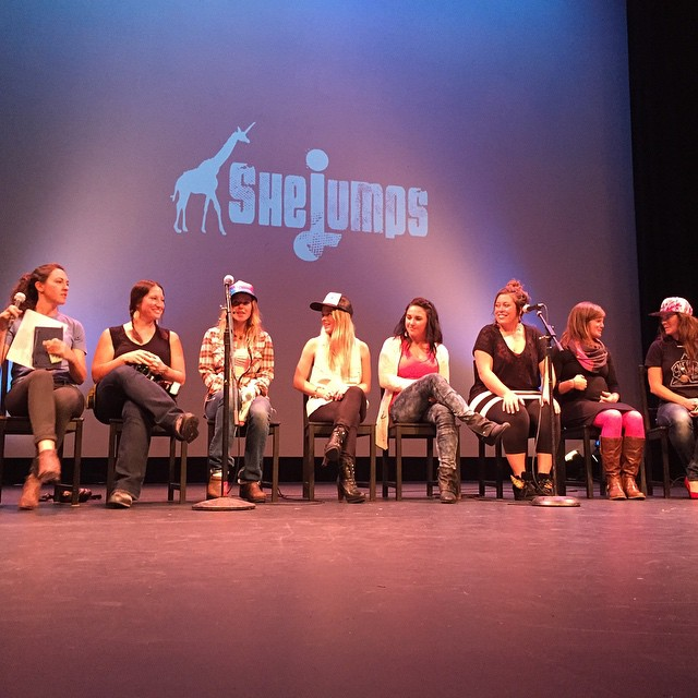 So much radness on one stage @freelance_girafficorn @lynseydyer @shejumps @kirkwoodmtn @meghankellyteles @rachaelburks @prettyfacesmovie @coalitionsnow #sisterhoodofshred #chicksthatrip #prettyfaces #PrettyFacesSF #goodpeople #gobigdogood #skiing...