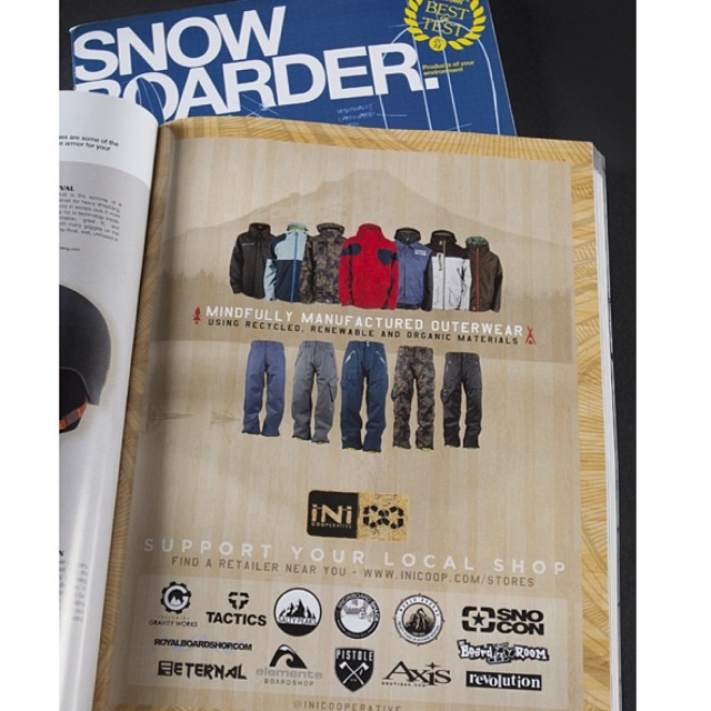 Pick up the November issue of @snowboardermag on shelves now. Special edition buyers guide. #ShopLocal and help promote the core roots of #snowboarding . #MindfullyManufacturedOuterwear @tactics @saltypeaksboardshop @snoconseattle @eternalsnowcom...