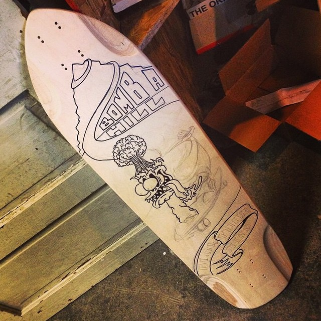 #regram from @gritcitygrindhouse. We tossed them a blank to play with and they're getting creative! Stoked to see it guys! Keep it up! Anyone else have a Db deck they've drawn on? Tag us, we wanna see it!  #dblongboards #Penrose #dbpenrose #topmounts...
