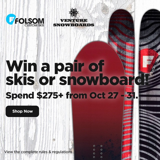 "Have you been thinking: ""I could use a new pair of skis or a new snowboard""? This is your week!  Spend $275+ at www.trewgear.com and become eligible for skis from @folsomskis or a snowboard from @venturesnow!  Get it get it!  #trew #technylish"