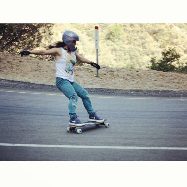 Rachel Bagels @skatebagels getting slideways on that magical one-way in southern California. Photo: Noah Dekel #girlsthatshred #longboardgirlscrew