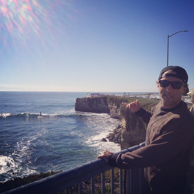 @bigdeluxe_  frothing at Steamer Lane for tomorrow's #oneillcwc #hovenvision #bigrisky