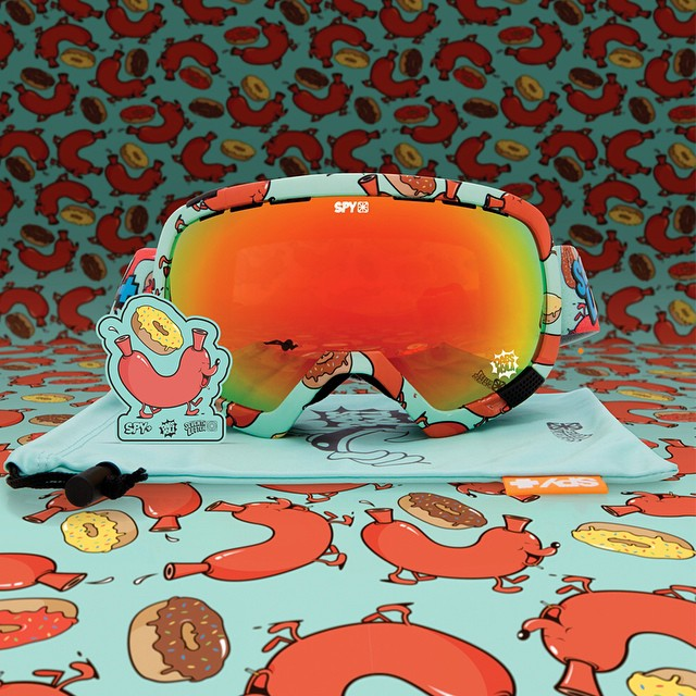 Happily deck out your face in hot dogs and donuts in the SPY + @dabsmyla + @TheSeventhLetter Platoon #snow #goggle.  Available now at select retailers worldwide.  #SEEHAPPY