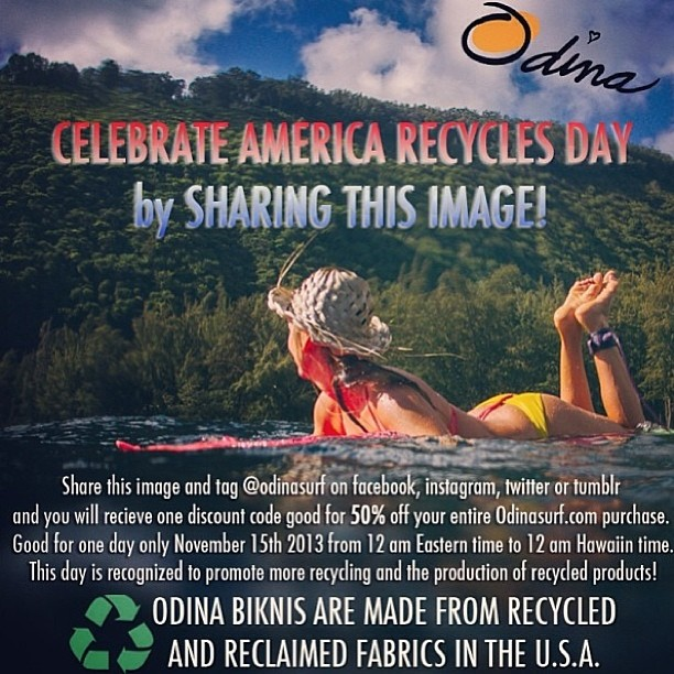 Get 50% off an @odinasurf #bikini today for America Recycles Day!!! Share this image and tag @alisonsadventures and @odinasurf and you will revive your 50% off code for a purchase at www.odinasurf.com Let me know if you have any issues! #sarahleephoto