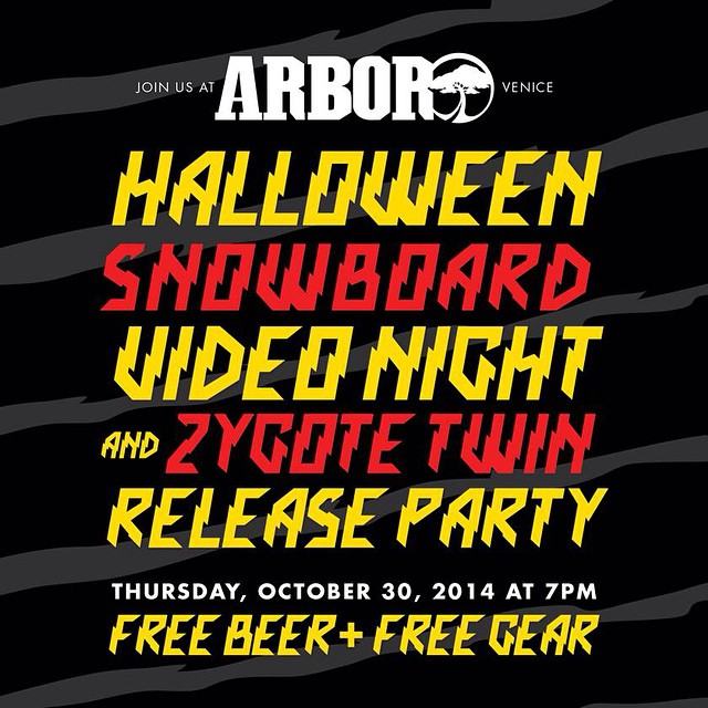 Flux is amped to be sponsoring @arborsnowboards big snowboard movie night. Head down to the Arbor headquarters in Venice, California and get some FREE beer