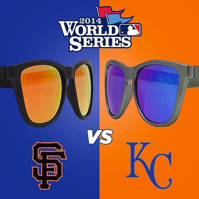 WHO WILL WIN?? GUESS YOUR TEAM'S WINNING SCORE - WINNER GETS THESE SHADES!! #Kameleonz #WorldSeries #Baseball #GiantsVsRoyals #2014 #Giants #Royals #LifesABeach
