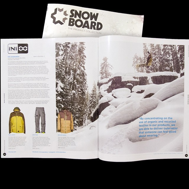 "New Product review in the @snowboardmag #GearGuide featuring @curtiswoodman . ""Outerwear that someone can feel good about wearing!"" #IsYourKitComplete for this upcoming season? Find shops near you on the #iNi website. #ShopLocal #MindfullyManufactured..."