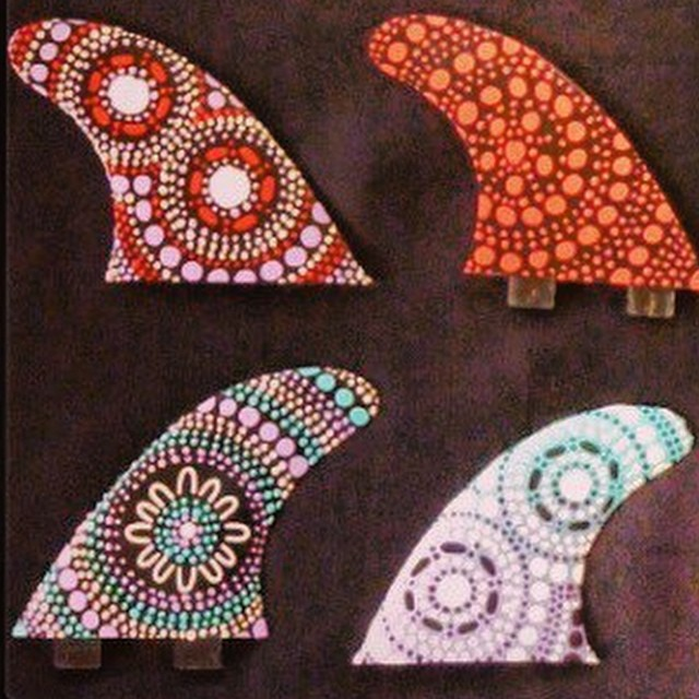 """Creativity is intelligence having fun"" -- Albert Einstein (Hand painted fins by indigenous Australian artist @saltwaterdreamtime)"