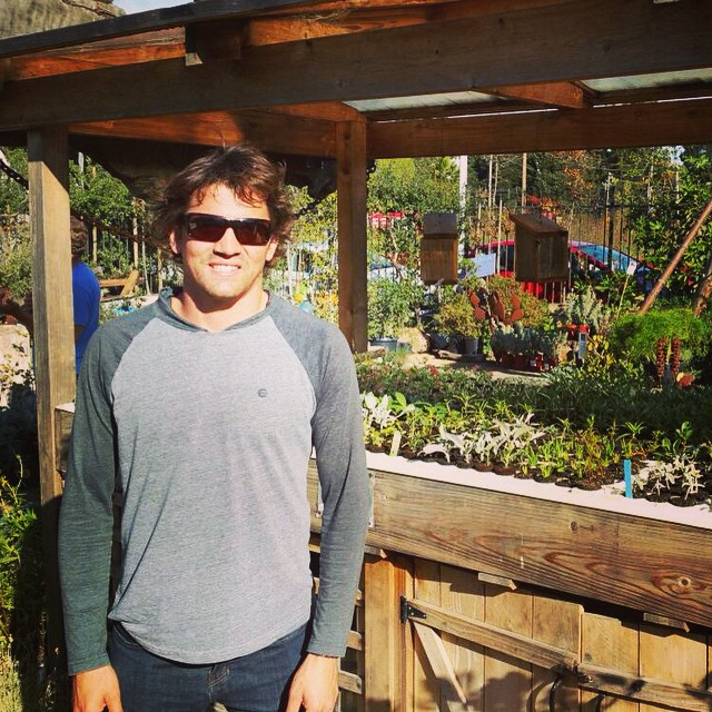 "Was fun showing Greg Long how Marin County rolls today at the CA Native Landscapes shop near Proof Lab... Greg was stoked to see the ""Living Machine"" (aquaponics) there in operation today as it fed the fish, grew the plants, and cleaned the water as a..."