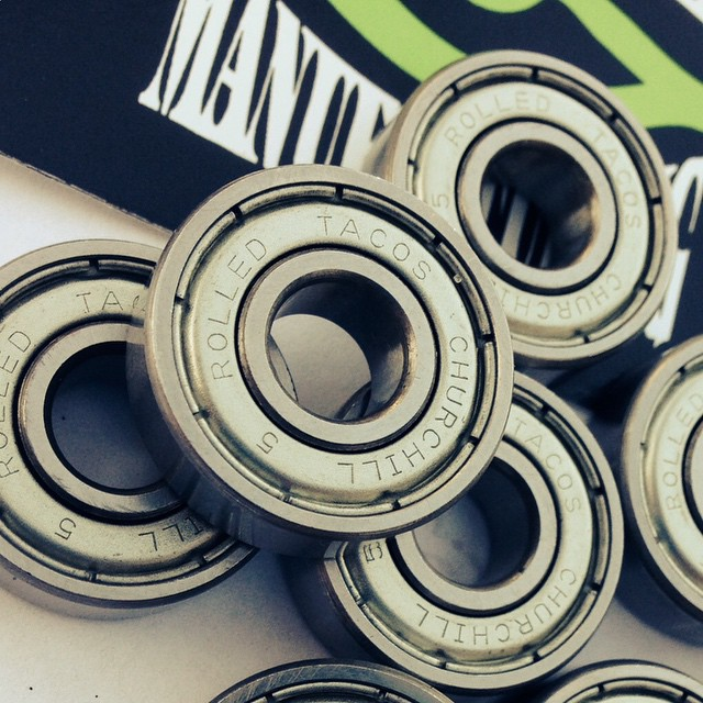#precision Abec 5 @churchillmfg rolled taco #bearings are here. They are Sooooo #smooth #churchillmfg #abec #skatelife #skateshops @concretewavemag #concretewave #freeride #downhill #skateboarding #longboarding #zealous #sector9 #bones #shortys...