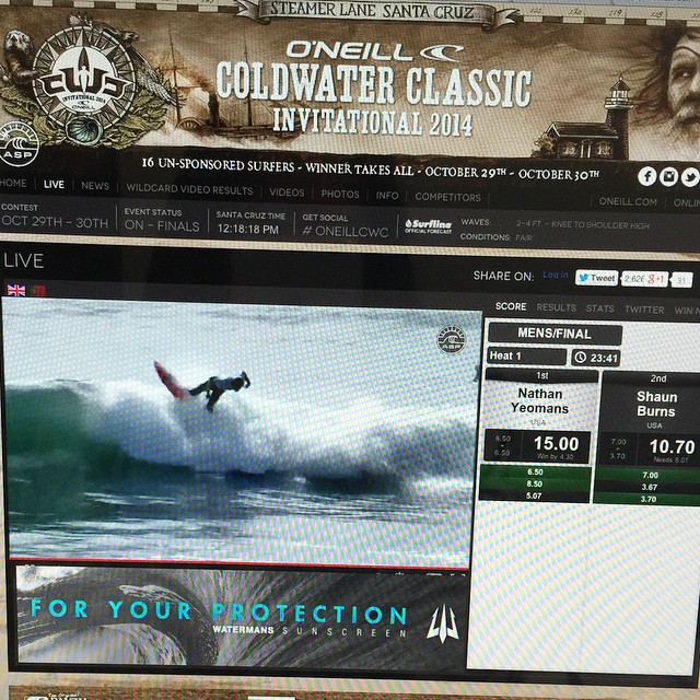 Fog has lifted! Tune in LIVE now to see Nate Yeomans in the Finals of the #oneillcwc #hovenvision