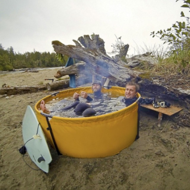 "Seems like we have discovered a ""must have"" item...the nomad collapsable folding tub! #dreambig #nomad #roadwarriors #2015 #california #colorado #florida #mexico #localhoneydesigns #musthave #hottub #localhoney  #priorities #straight #travel #ocean..."