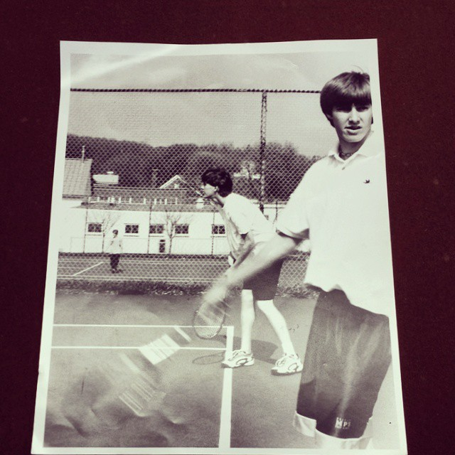 Cute girl walks by.. Andrew loses focus.. Andrew forgets what he's doing and what state he's in.. Andrew loses point.. Andrew is happy with his decision.  #tbt #malvern #goodolddays #tennis #highschool #cofounder #entrepreneur #startup #grassracks...