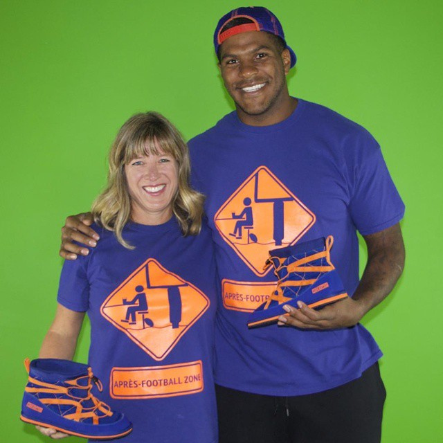 #denverbroncos #superstar tightend @julius_thomas and the creator of #pakems Julie Adams on the set our #kickstarter video for the #milehighpakems #juliusthomas #broncos #denver #broncosnation #colorado #orangeandblue @broncostoday @denverbroncosfans...