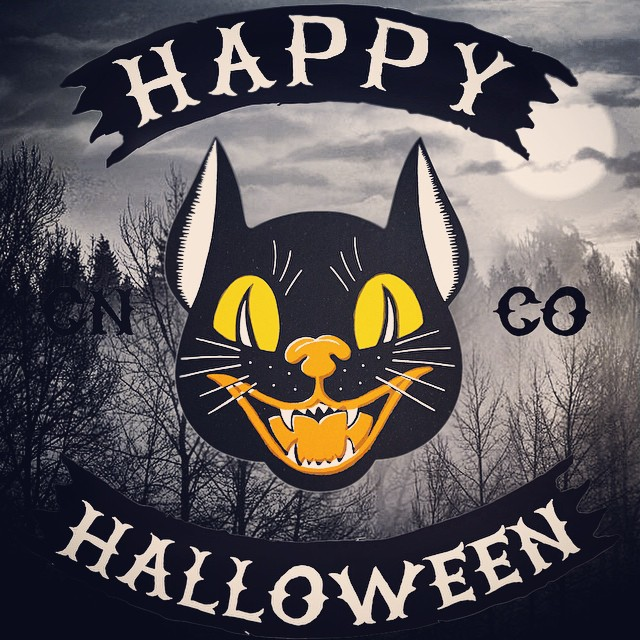 Happy Halloween from Concrete Native. Have fun and be safe! Oh, and this image just might be a preview of our new line, available soon!  #realshitforrealpeople #halloween #blackcat #fall #winterpreview