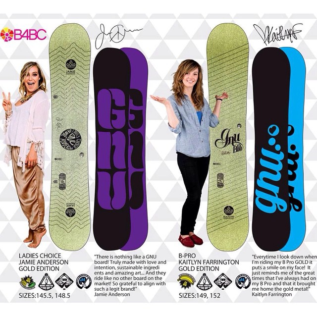 In honor of #TeamB4BC riders @jamieanderson and @kaitlynfarr taking home the #gold at the #Olympics earlier this year, @gnusnowboards designed them a couple of boards with G O L D top-sheets! A portion of the proceeds from all Gold Edition B-Pro and...
