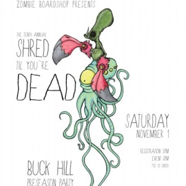 If you're near @buckhill tomorrow be sure to go by @zombieboardshop and shred til you're dead at their preseason rail jam!  #goodpeople #supportlocal #shredtilyouredead #preseason #railjam #academykidsrule