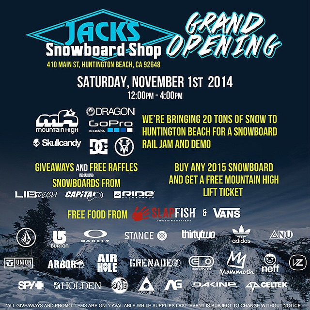 If you're in the area go check out one of SoCals finest! There will be snow on the beach, some good food and great deals on new 14/15 Grenade product. Come down and say hi!