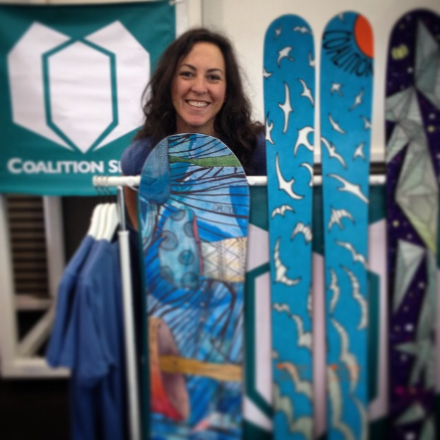 Come say hello to us at #SnowBomb! We're hanging out with #TahoePowder and are stoked to talk to you about our new line of skis and snowboards designed by women, for women! #winteriscoming #sisterhoodofshred #skiing #snowboarding