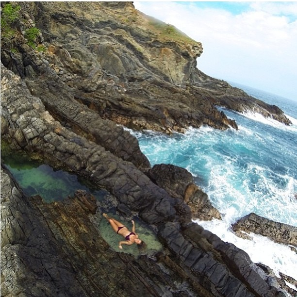 @flipachip #taking a #dayoff to #explore the #tidepools in her #backyard of #hawaii #photo by @jeandasilva @gopro #beauty #cliffs #ocean